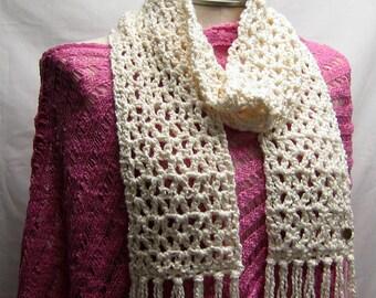 Vanilla Cream Bamboo Crochet Scarf
