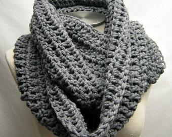 Chunky Crochet Infinity Scarf -- STORMY