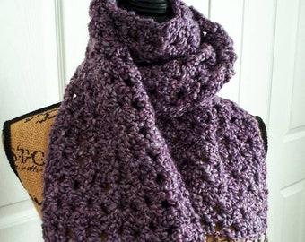 OOAK Crochet Scarf with fringe - Purple Haze