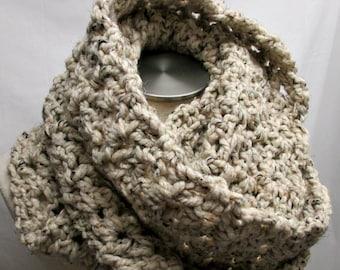 Chunky Crochet Infinity Scarf - OATMEAL