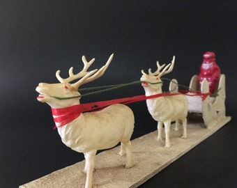 Vintage Santa Sleigh Reindeer Christmas Decoration