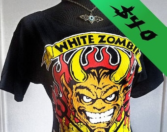 Ladies handmade White Zombie boatneck fitted band shirt many sizes available