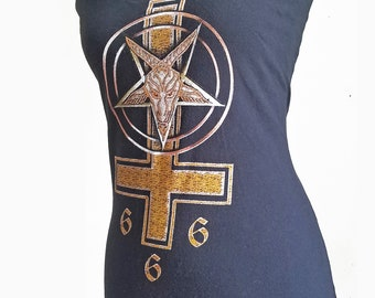 Baphomet 666 ladies gothic heavy metal hell wiccan witch horror halter tunic top or mini dress