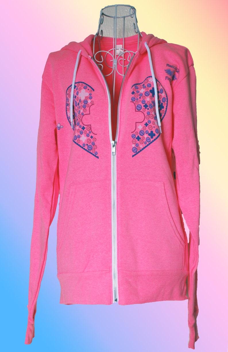b655233eff Felpe con cappuccio pronto soccorso ragazza magica in rosa e bianco