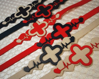 Red Alert Chokers with Medical Cross and Heartbeat