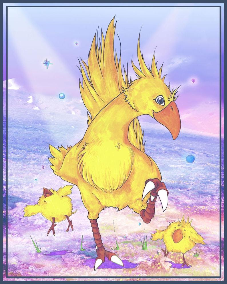 Chocobo Dance - 8x10 or 11x14 Print - Final Fantasy Fan Art