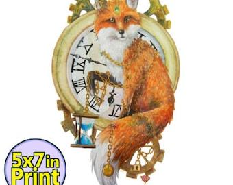 Clockwork Fox Print 5x7