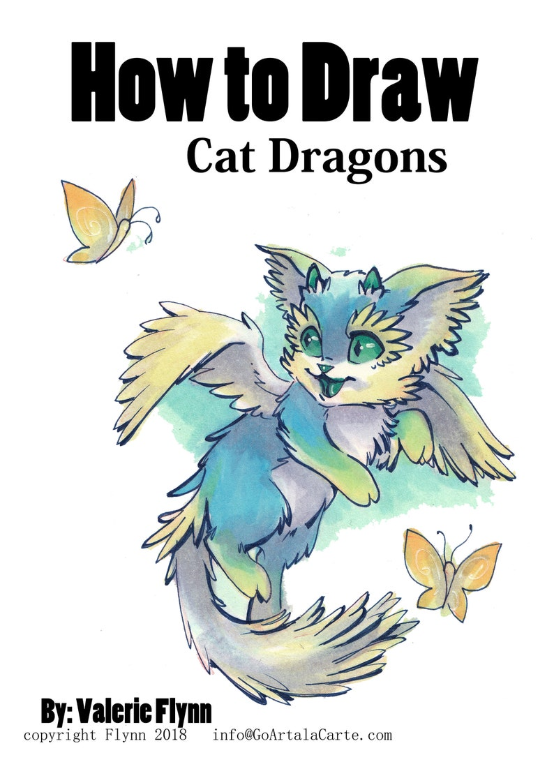 photo relating to Printable Draw titled Printable Artwork Lesson How in direction of Attract Dragon Cats By means of Valerie Flynn