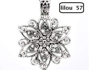 1 large 66x48mm openwork flower charm pendant