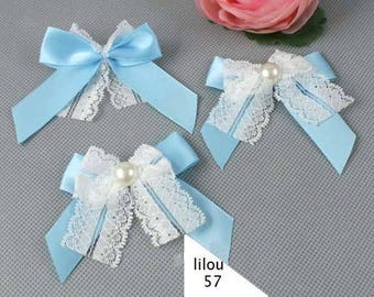 Applique blue Satin bow with two buckles, Pearl and lace