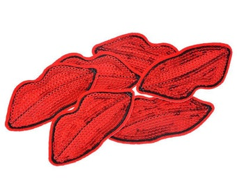 Patch fusible sequins - Patch - smile lips red pin-up, 3.9cmx7.7cm ref: S2LR