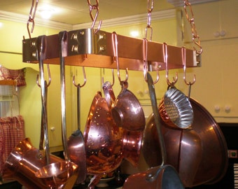 "18"" X 6"" Hanging Solid Copper Pot Rack with 8 hooks and 64 inches of copper chain FREE Shipping to U S Zip codes"