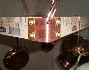 Basic DIY kit of Solid Copper corners with 4 mini S hooks to make a Hanging Pot Rack FREE Shipping in the USA