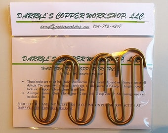 "Set of 6 SOLID BRASS ""J"" Hooks Free Shipping to U S Zip codes - Wholesale lots available (50 hooks or more) - contact me for pricing"