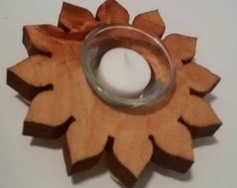 Sunflower Candle, Wood Sunflower, Votive Candle Holder, Votive Glass Cup, Sunflower Candle Holder, Table Centerpiece