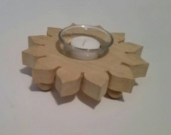 Wood Sunflower, Sunflower Centerpiece, Sunflower Candle Holder, Votive Candle Holder, Candle Holder with Glass Cup