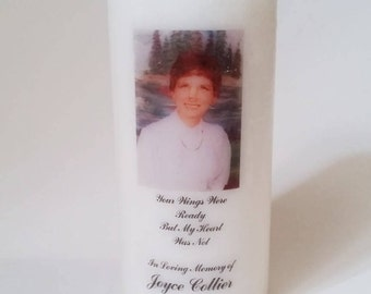 Funeral Candle, Customizable Candle, Your Wings Were Ready, In Memory Of Candle, Picture Candle, Family Keepsake, Loss of a Family Member