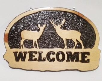 Deer Wood Sign, Carved Wood Sign, Deer Welcome Sign, Carved Welcome Sign, Welcome Sign, Buck and Doe, Carved Deer, Wood Sign, Wood Carving