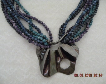 Bead Necklace with Polished Metal Clasp