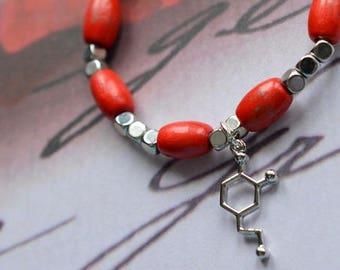Biolojewelry - Dopamine Neurotransmitter Wooden Beaded Bracelet
