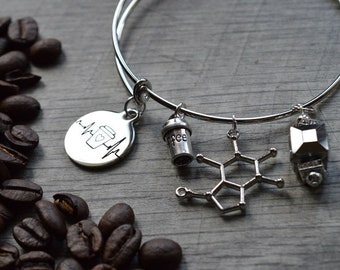 Biolojewelry - Coffee Heartbeat Caffeine Molecule Bangle Bracelet