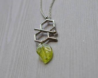 Biolojewelry - After The Rain Geosmin Molecule Leaf Necklace