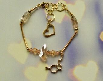 Biolojewelry - Serotonin Heart Neurotransmitter Beautiful Crystal Bracelet