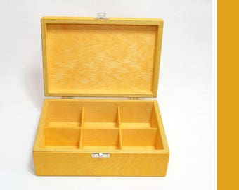Yellow Wooden Tea Box / 6 Compartments Box / Keepsake Box / Jewelry Box / Storage Box / Yellow Compartment Box / Yellow Gift Box / Favor Box