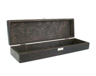 Wooden Keepsake Box / Wooden Storage Box / Knife Storage Box / Dark Brown Box 13.77 x 3.54 x 1.96 inch