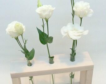 """Wooden Bud Vase """"White Wedding""""  / 3 Flowers Vase / Wedding Decor / Wedding Gift / White Vase"""