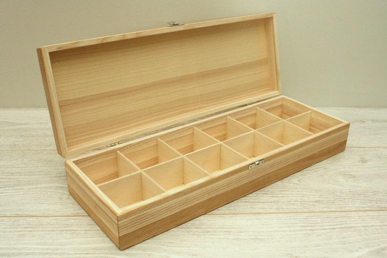 Large Collection Box 12 Compartments Ash Wood Box Wooden Storage Box Wooden Keepsake Box Jewelry Box Natural Box Eco Gift