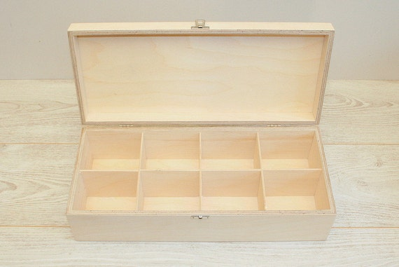 Large Wooden Box For Diy Projects Unfinished Wooden Box With 8 Compartments