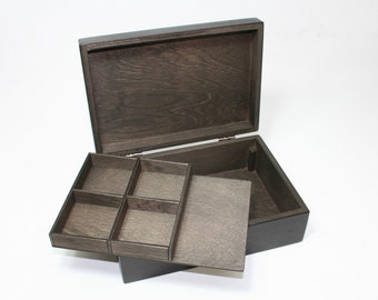 Handcrafted Jewelry Box / Box with Removable Layer / Dark Brown Box / Jewelry Display Box / Jewelry Gift Box / Jewelry Storage Box