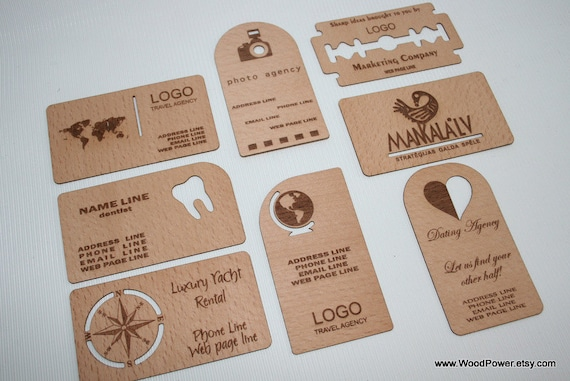 Wooden business card unique design set of 10 custom etsy image 0 reheart Choice Image