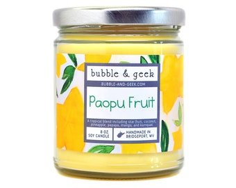 Paopu Fruit scented soy candle - 8 oz. jar - star fruit, video game