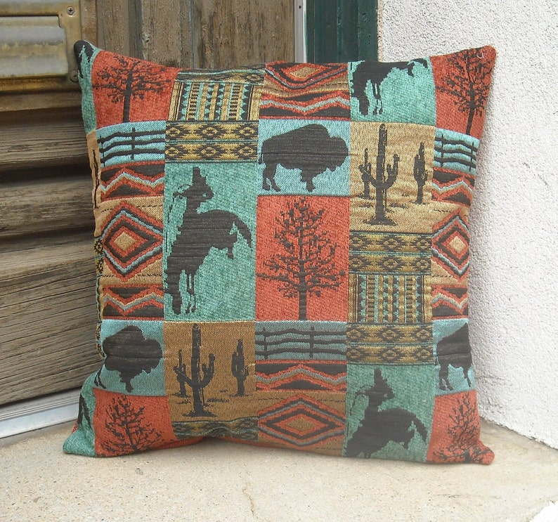 Southwest Cowboy Pillow Cover 16 x 16 to 24 x 24. Hardwearing image 0