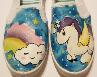 Unicorn handpainted sneakers and unicorn necklace READY TO SHIP