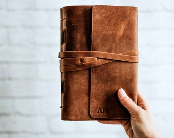 Writing Journal,  Leather Journal Personalized, Handbound Journal, Large Leather Journal, Monogram Sketchbook, Lined Journal for Men