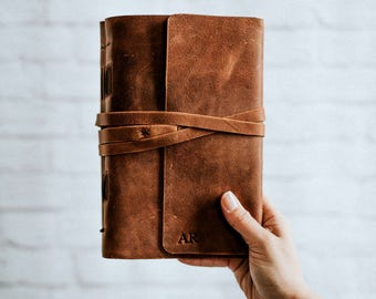 Leather Wrap Journal Notebook Leather Journal, Travel Journal, Lined leather book, customizable journal