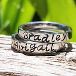 Stackable Name Rings, Stacking Rings, Personalized Stacking Ring, Silver Ring, Initial Ring, Thin Stackable Name Ring, Flat Front Ring