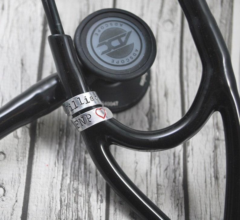 Stethoscope ID Tag Stethoscope ID Ring Stethoscope Charm image 0