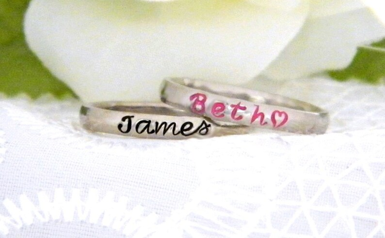 Stacking Mother's Name Ring Custom Personalized Name image 0