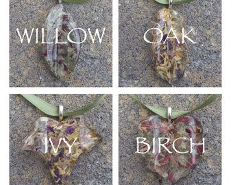 Custom Keepsake / Memorial Ornament Pendant made from your Dried Flower Petals or Pet fur - LEAVES