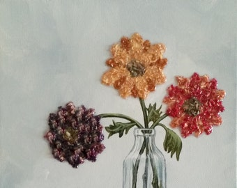 Custom Wedding Memento or Memorial Keepsake made from your Flower Petals - 3D Flower Flake Canvas Wall Art - MEMORIES in a BOTTLE Painting