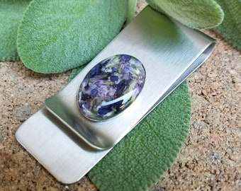 MONEY CLIP made from your preserved Wedding or Memorial Flowers or Pet Cremains or Fur  Custom Bridal or Funeral Keepsake  Stainless Steel