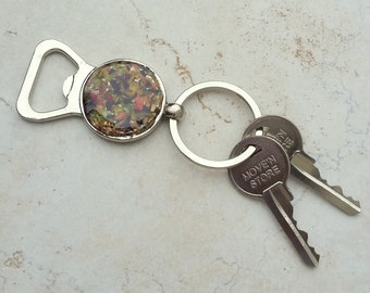 Wedding Memento or Funeral Memorial Keepsake made from your Dried Flower Petals or Pet fur  - KEY RING w/ Bottle Opener