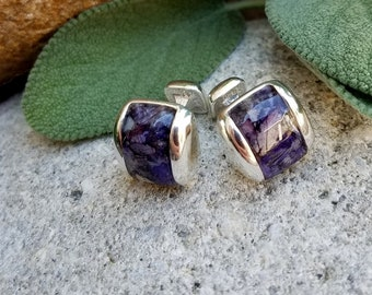 CUFFLINKS made from your preserved Wedding or Memorial Flowers Pet Cremains or Fur Custom Bridal or Funeral Keepsake - Sterling Silver