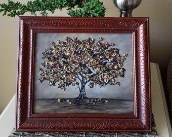 Canvas Flower Applique Keepsake Painting made from your preserved Wedding or Memorial Petals  Custom Bridal Funeral Wall Art - BLOOMING OAK