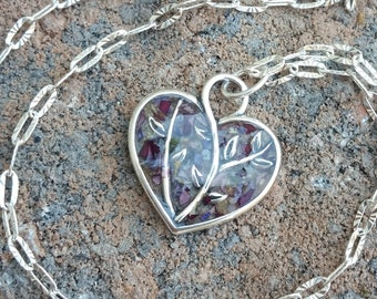 Wedding Memento or Funeral Memorial Keepsake made from your Flower Petals or Pet fur or Cremains - TIMBER HEART Pendant or Necklace