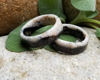 Duo-Toned WIDE RING BAND made from your preserved Wedding or Memorial Flowers or Pet Cremains Fur  Custom Bridal or Funeral Keepsake - Men's